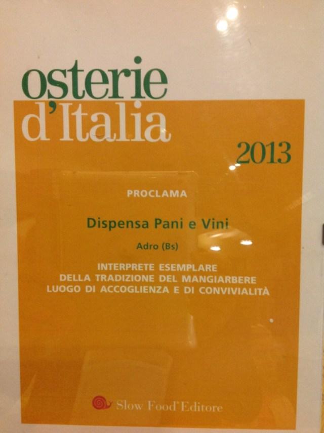 Die Slow Food Auszeichnung der Dispensa Pane e Vini