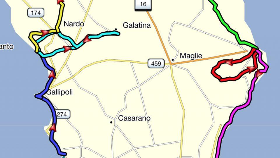Apulien Fahrradtour Route